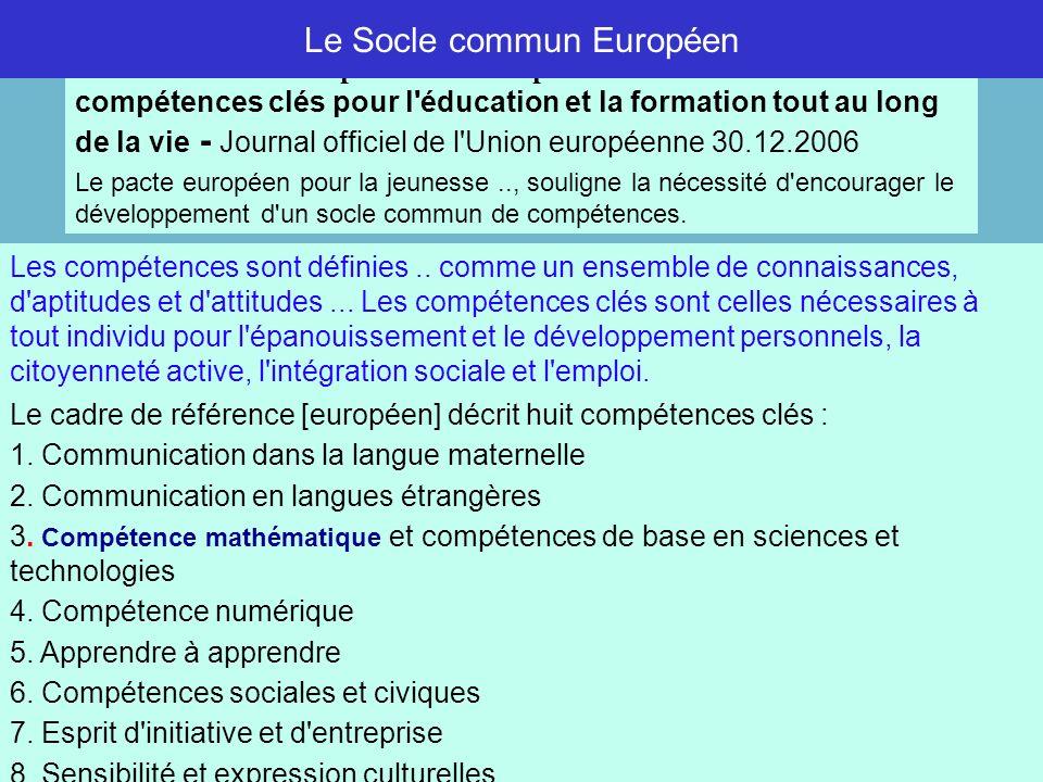 Le Socle commun Européen