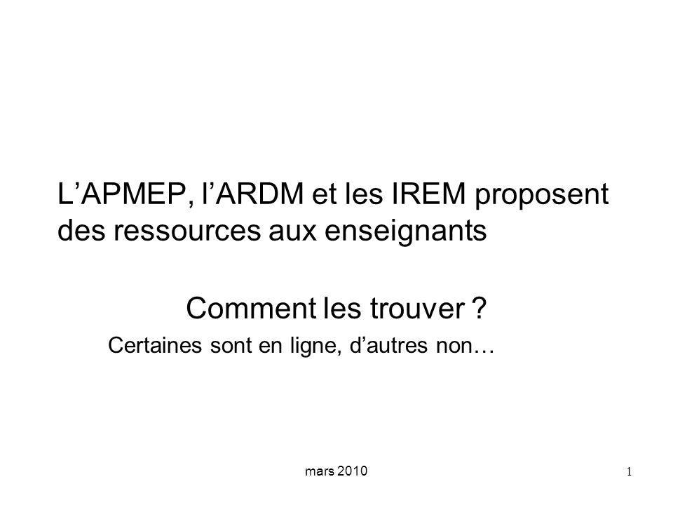 L'APMEP, l'ARDM et les IREM proposent des ressources aux enseignants