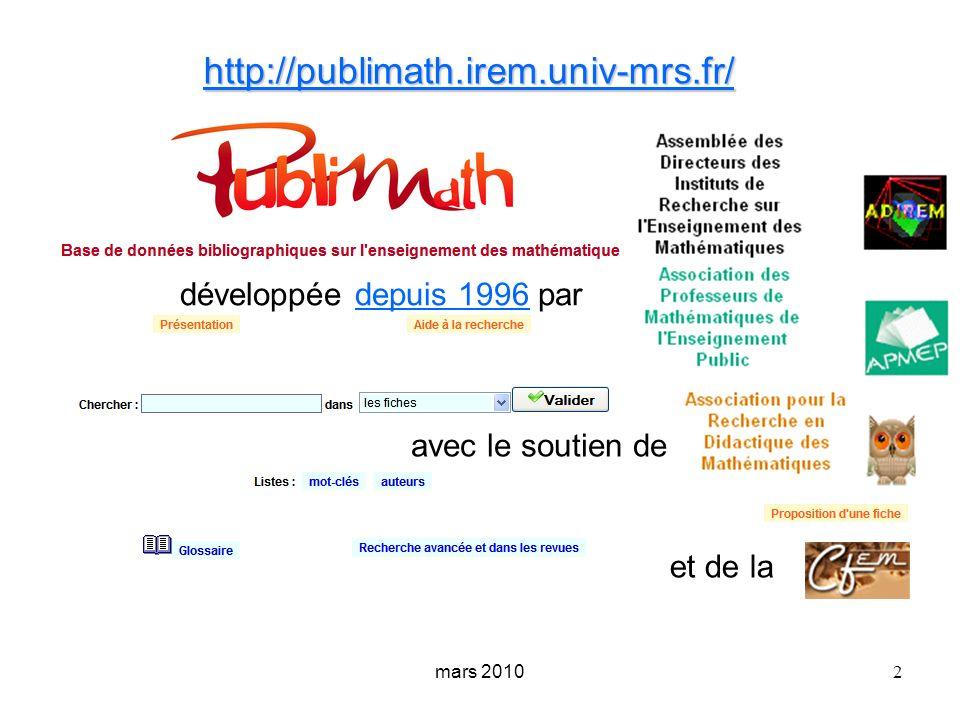 http://publimath.irem.univ-mrs.fr/ développée depuis 1996 par