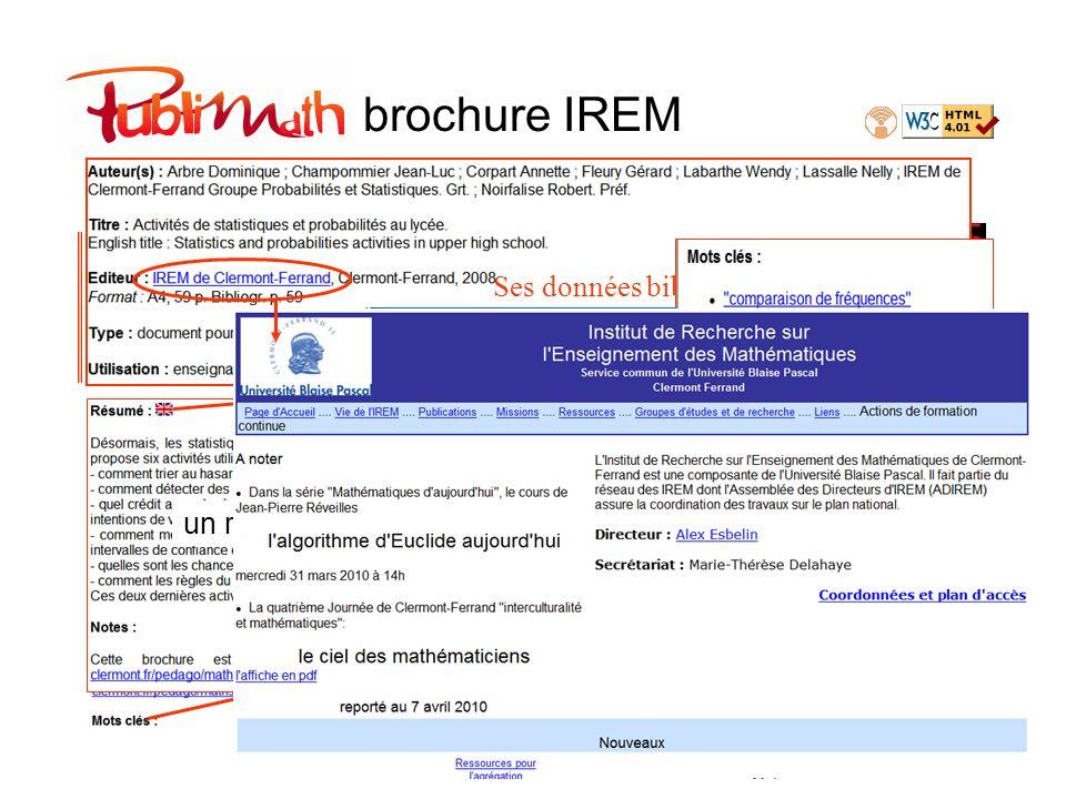 brochure IREM Ses données bibliographiques