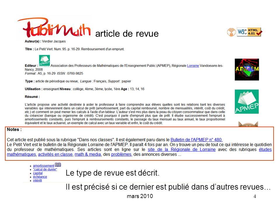 article de revue Le type de revue est décrit.