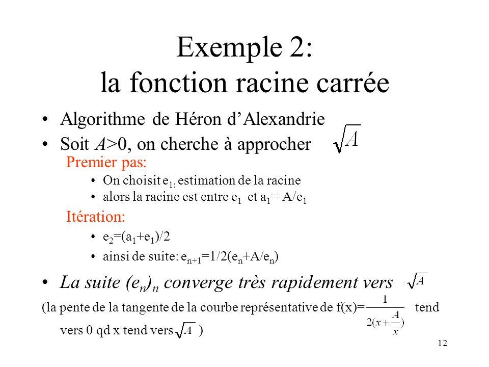 Exemple 2: la fonction racine carrée