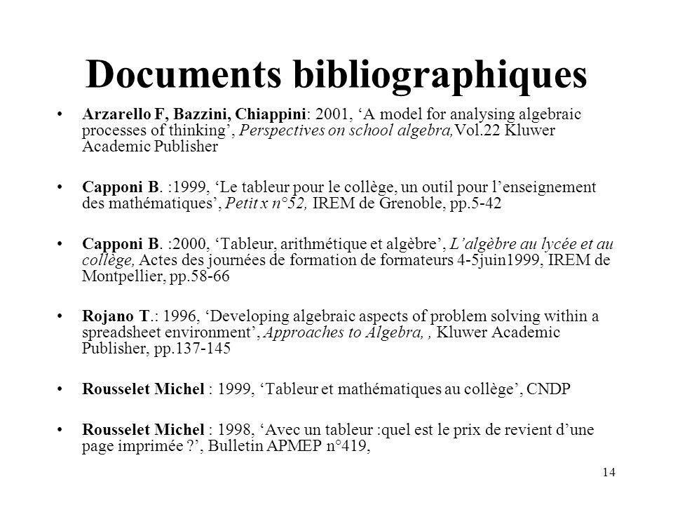 Documents bibliographiques