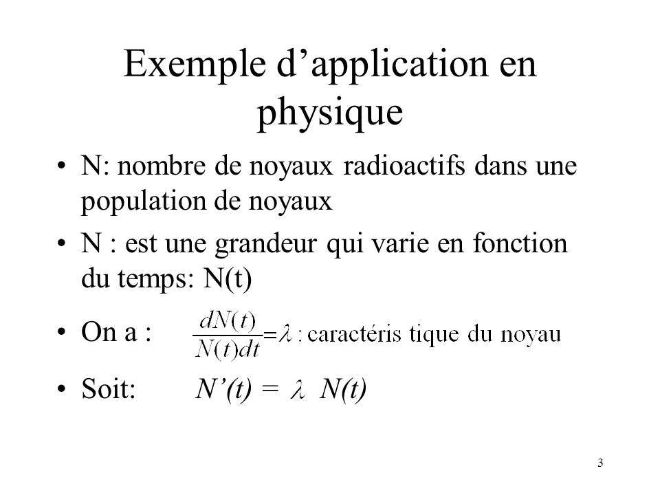 Exemple d'application en physique