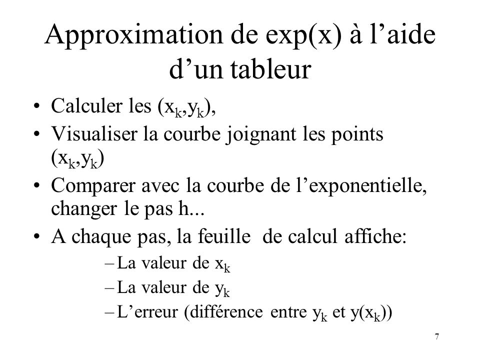 Approximation de exp(x) à l'aide d'un tableur