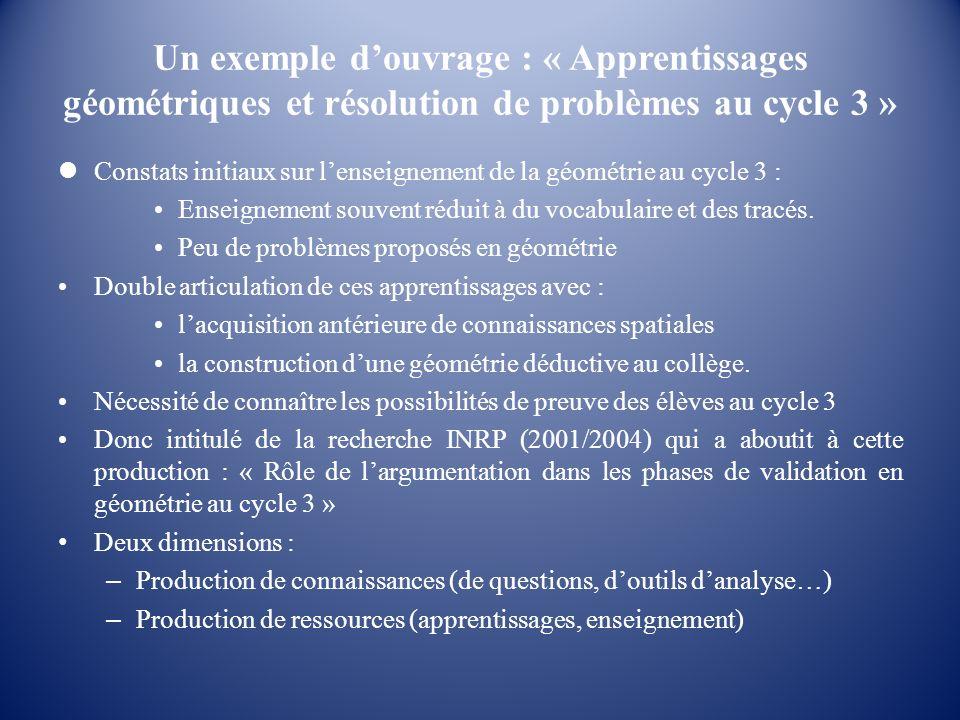 Un exemple d'ouvrage : « Apprentissages géométriques et résolution de problèmes au cycle 3 »