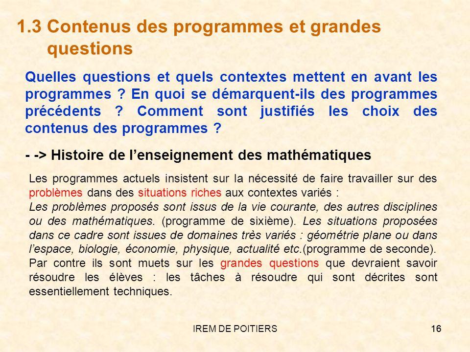 1.3 Contenus des programmes et grandes questions