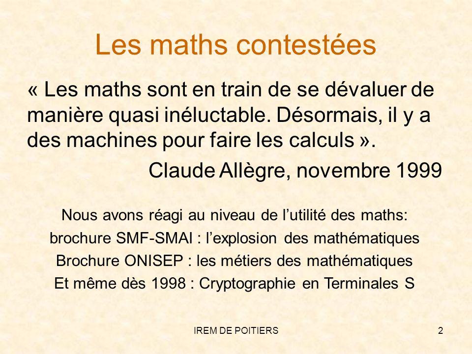 Les maths contestées