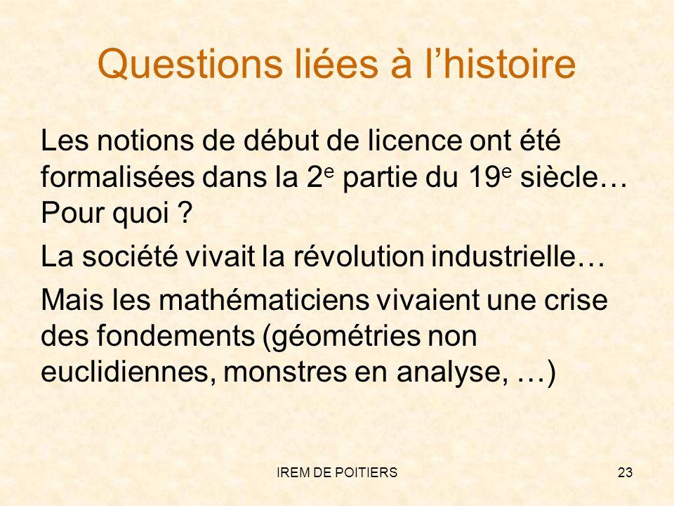 Questions liées à l'histoire
