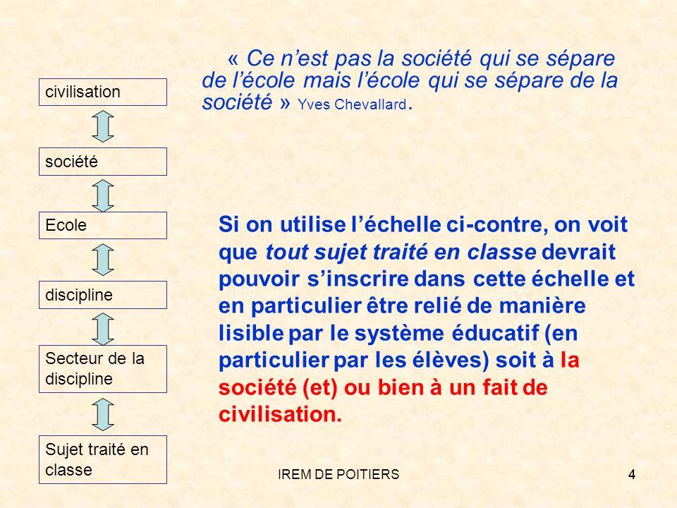 « Ce n'est pas la société qui se sépare de l'école mais l'école qui se sépare de la société » Yves Chevallard.