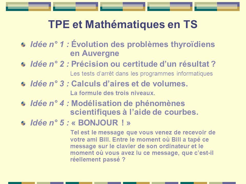 TPE et Mathématiques en TS