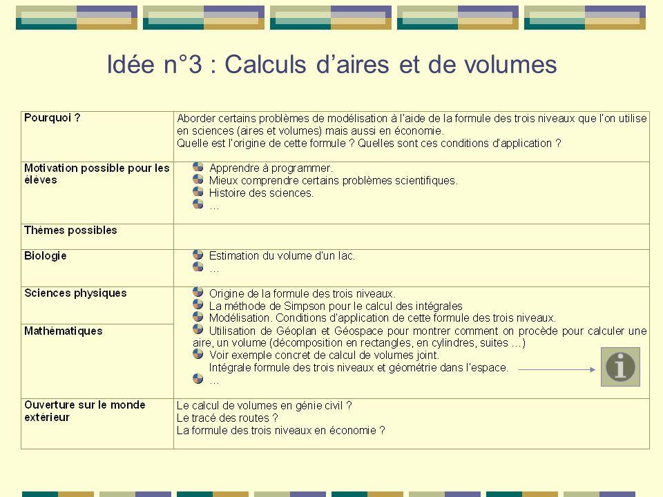 Idée n°3 : Calculs d'aires et de volumes