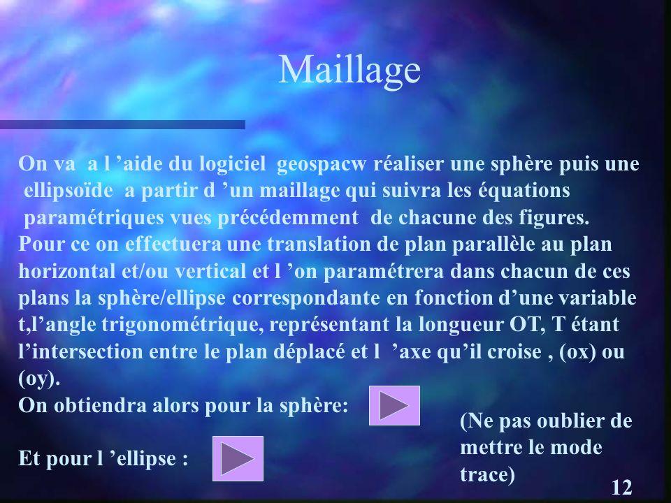 MaillageOn va a l 'aide du logiciel geospacw réaliser une sphère puis une. ellipsoïde a partir d 'un maillage qui suivra les équations.
