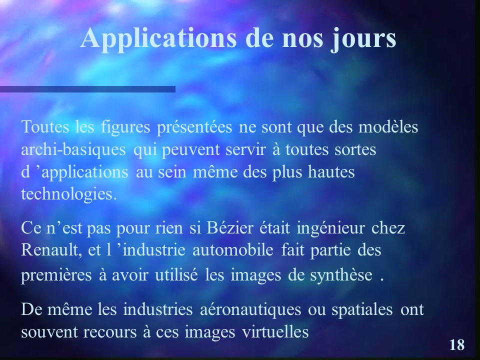 Applications de nos jours