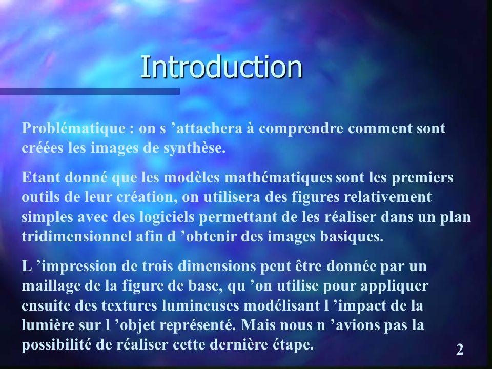 IntroductionProblématique : on s 'attachera à comprendre comment sont créées les images de synthèse.