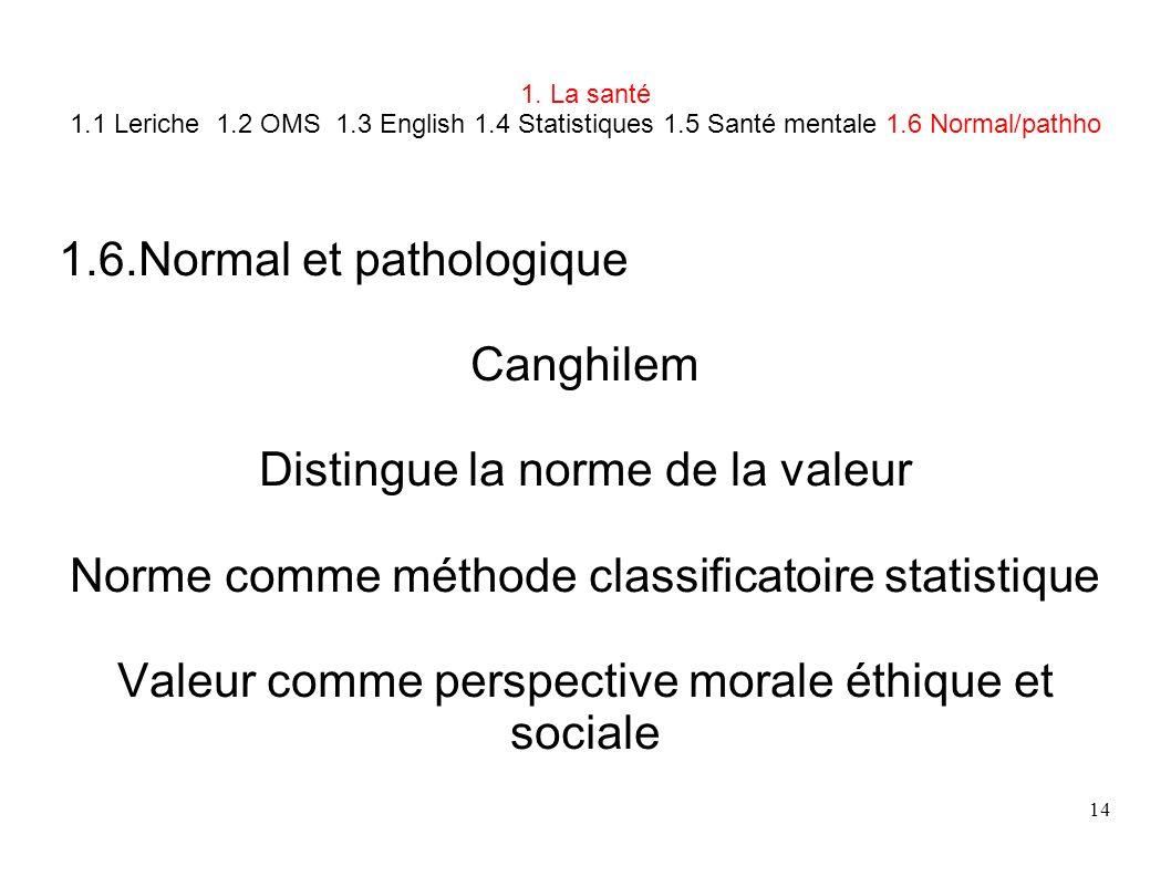 1.6.Normal et pathologique Canghilem Distingue la norme de la valeur