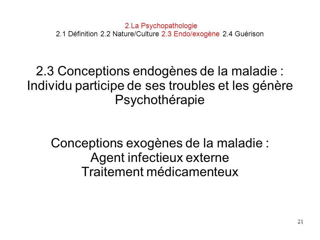 2.3 Conceptions endogènes de la maladie :