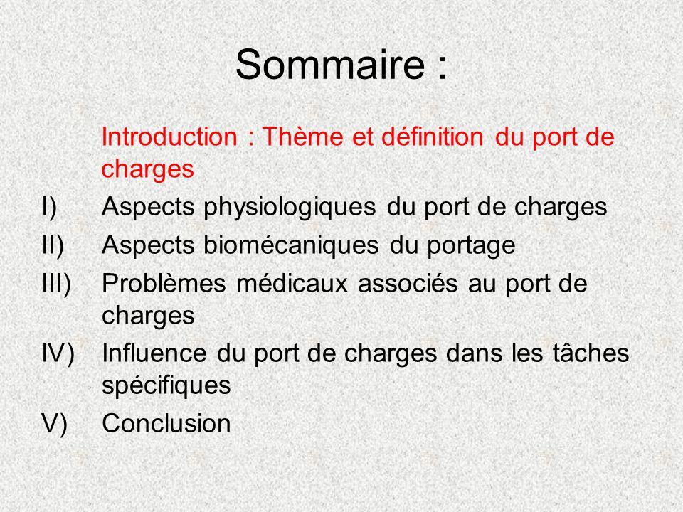 Sommaire : Introduction : Thème et définition du port de charges