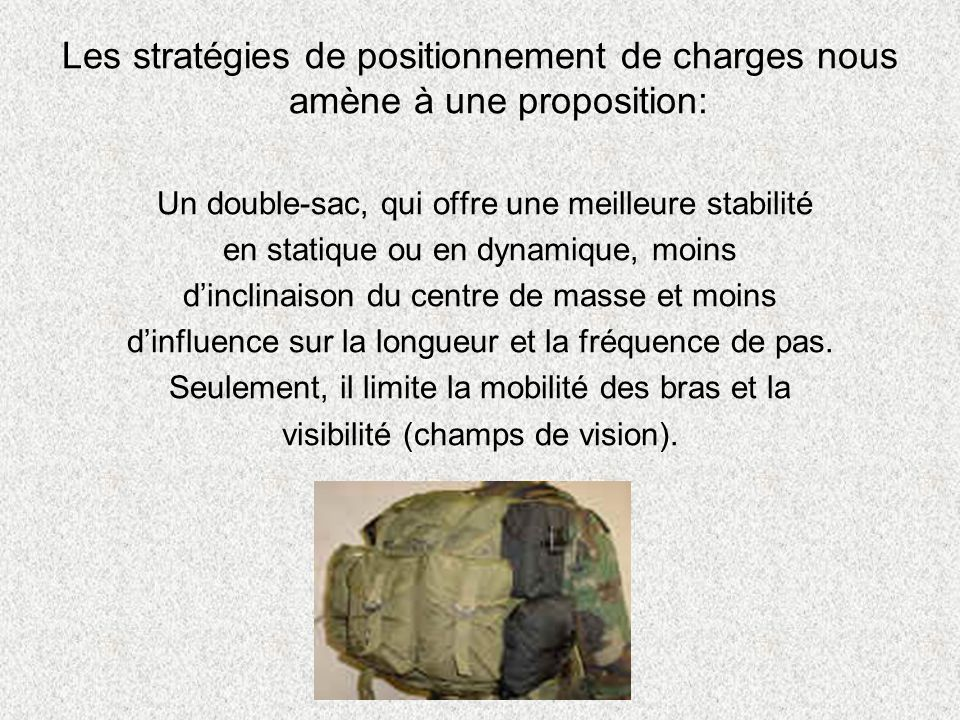 Les stratégies de positionnement de charges nous amène à une proposition: