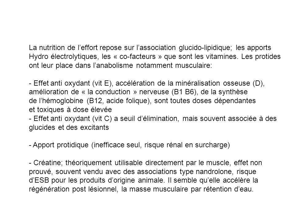 La nutrition de l'effort repose sur l'association glucido-lipidique; les apports