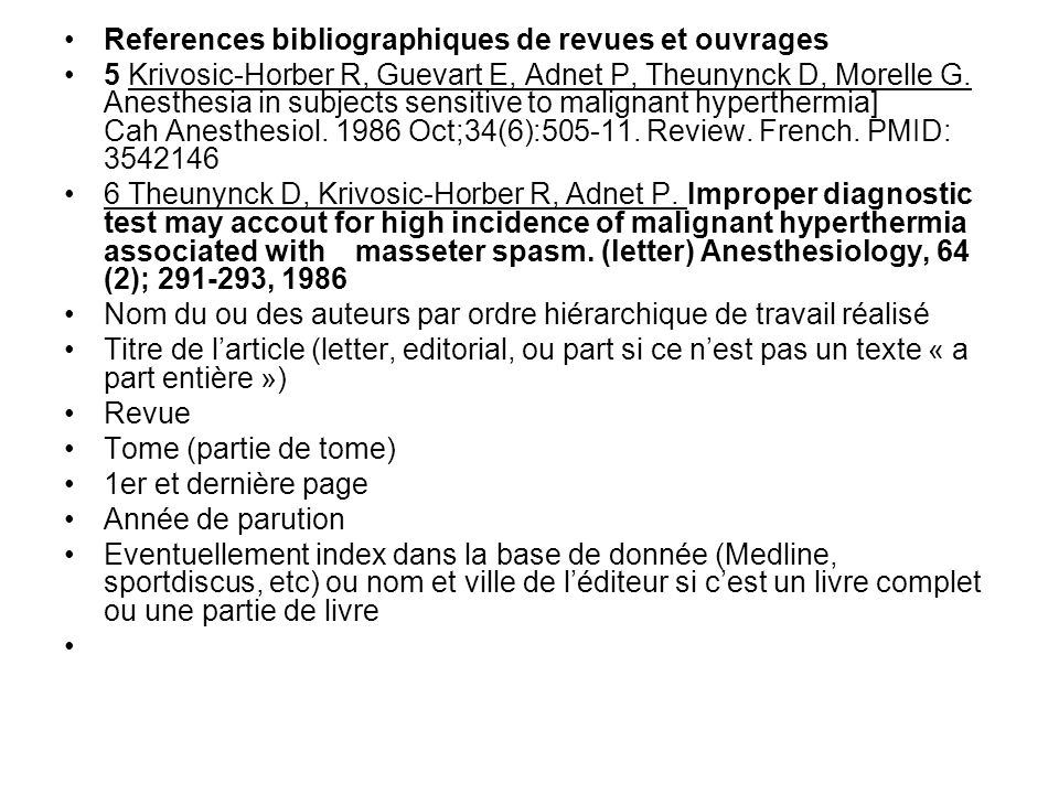 References bibliographiques de revues et ouvrages