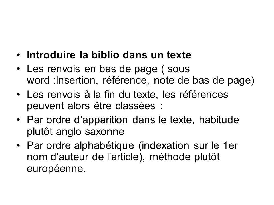 Introduire la biblio dans un texte