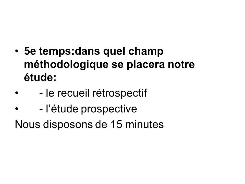 5e temps:dans quel champ méthodologique se placera notre étude: