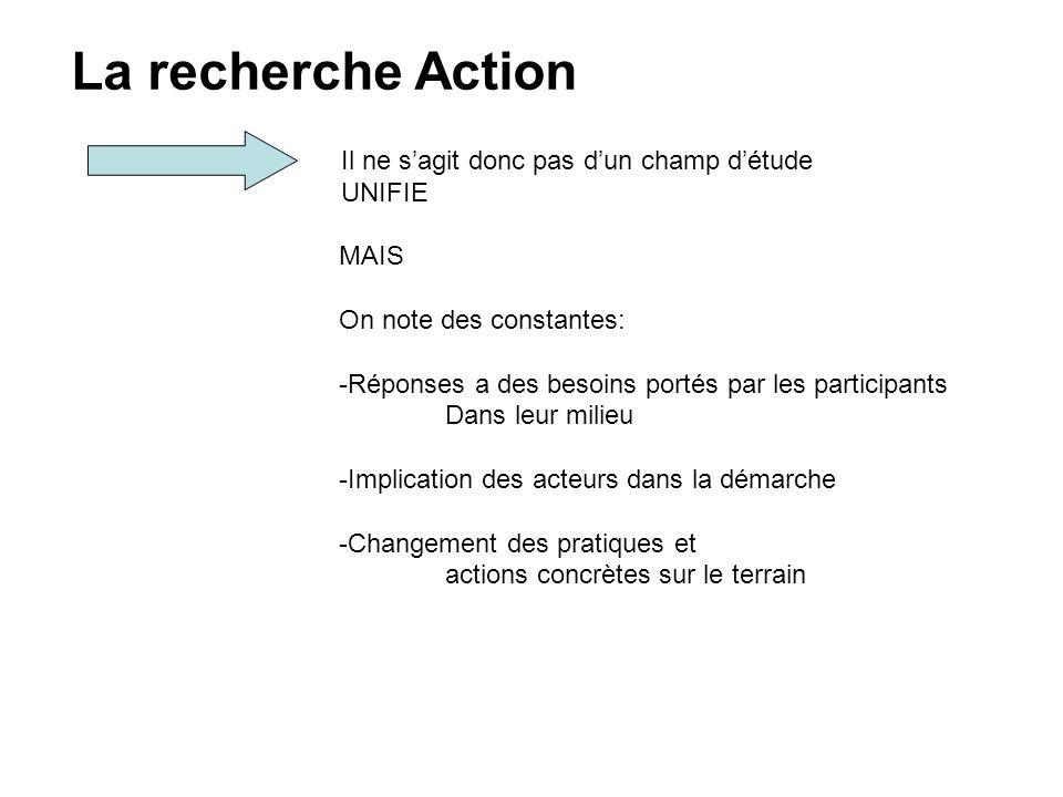 La recherche Action Il ne s'agit donc pas d'un champ d'étude UNIFIE