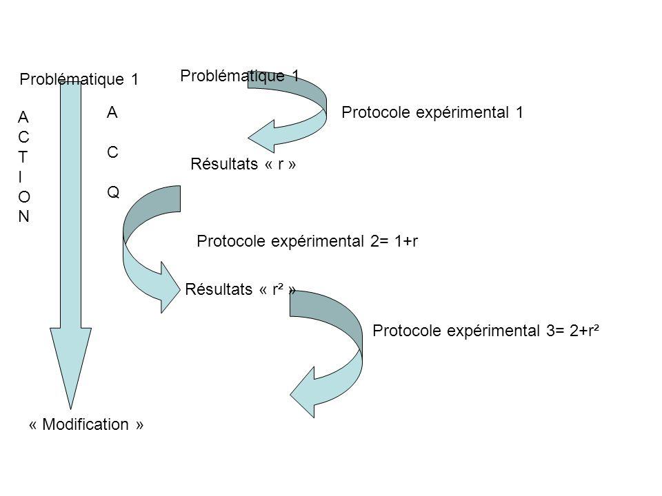 Problématique 1 Problématique 1. A. C. Q. Protocole expérimental 1. A. C. T. I. O. N. Résultats « r »