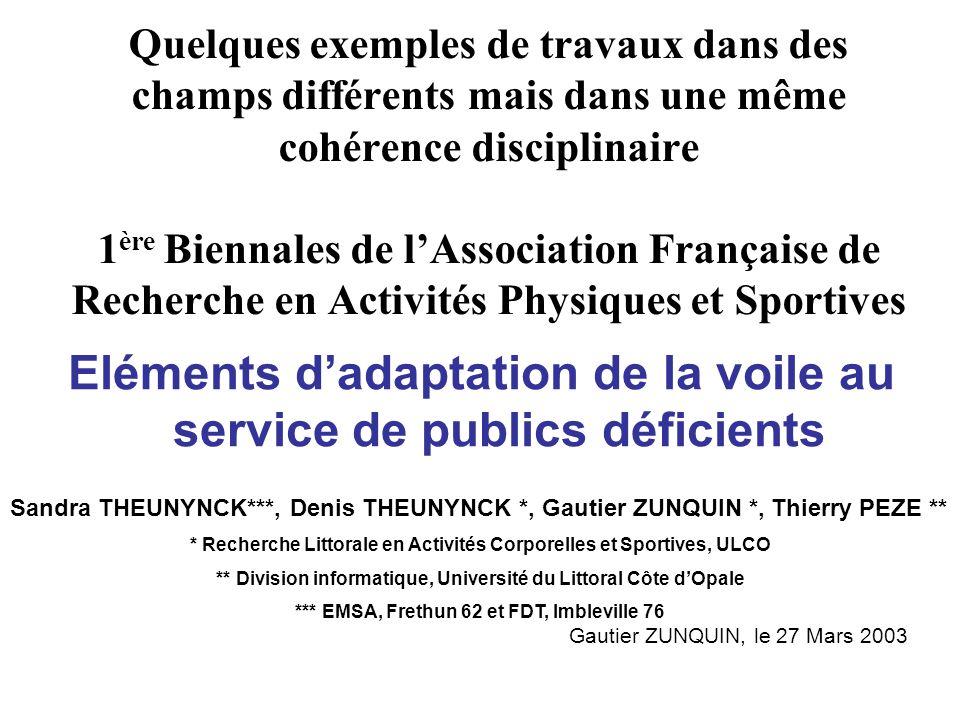 Eléments d'adaptation de la voile au service de publics déficients