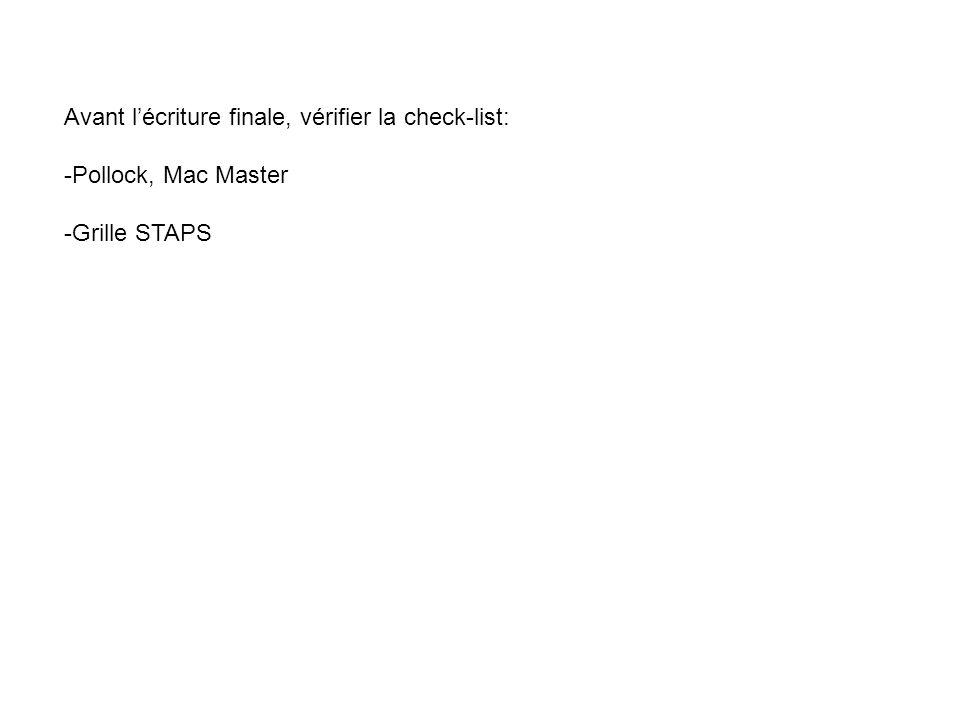 Avant l'écriture finale, vérifier la check-list: