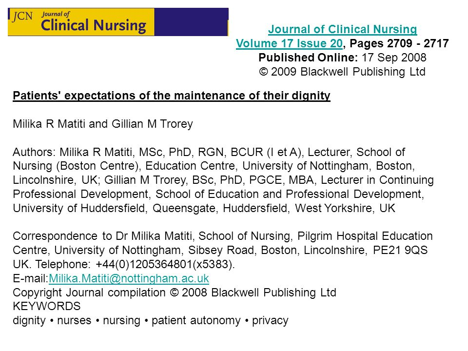 Journal of Clinical Nursing