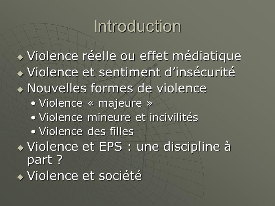Introduction Violence réelle ou effet médiatique