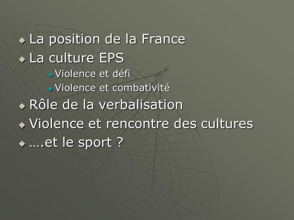 La position de la France La culture EPS