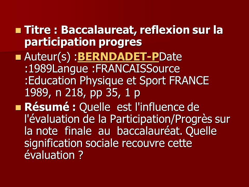 Titre : Baccalaureat, reflexion sur la participation progres