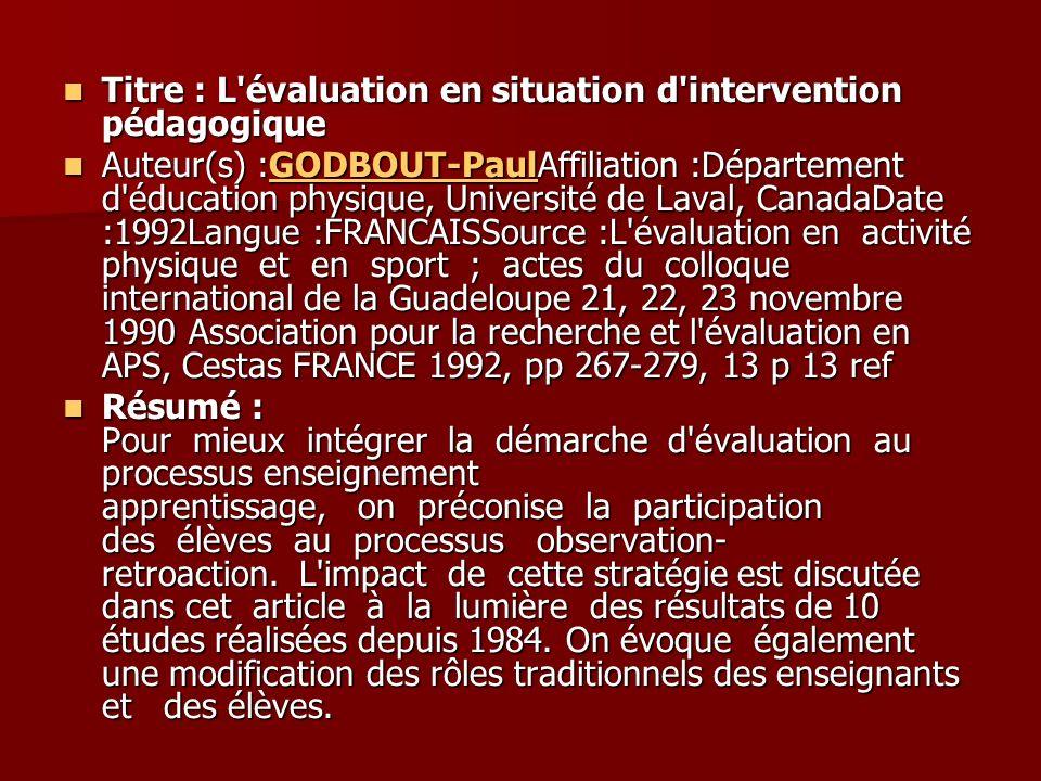 Titre : L évaluation en situation d intervention pédagogique