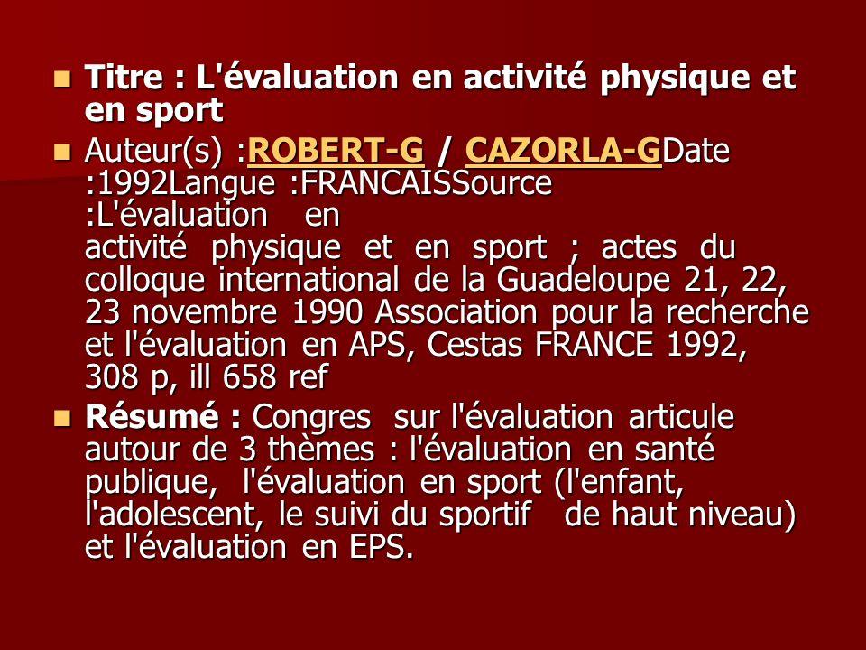 Titre : L évaluation en activité physique et en sport