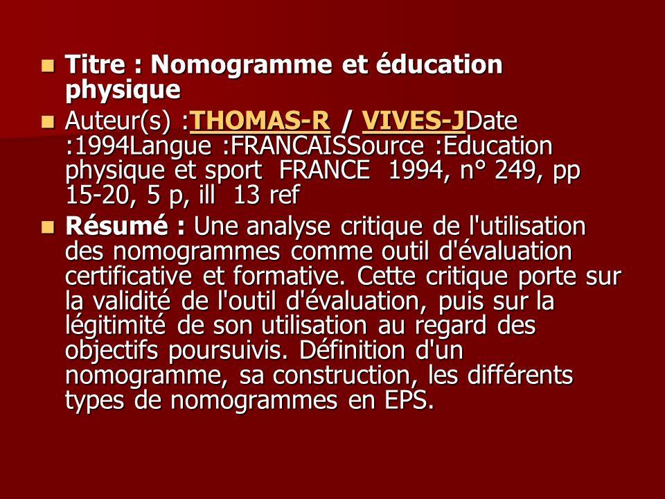 Titre : Nomogramme et éducation physique