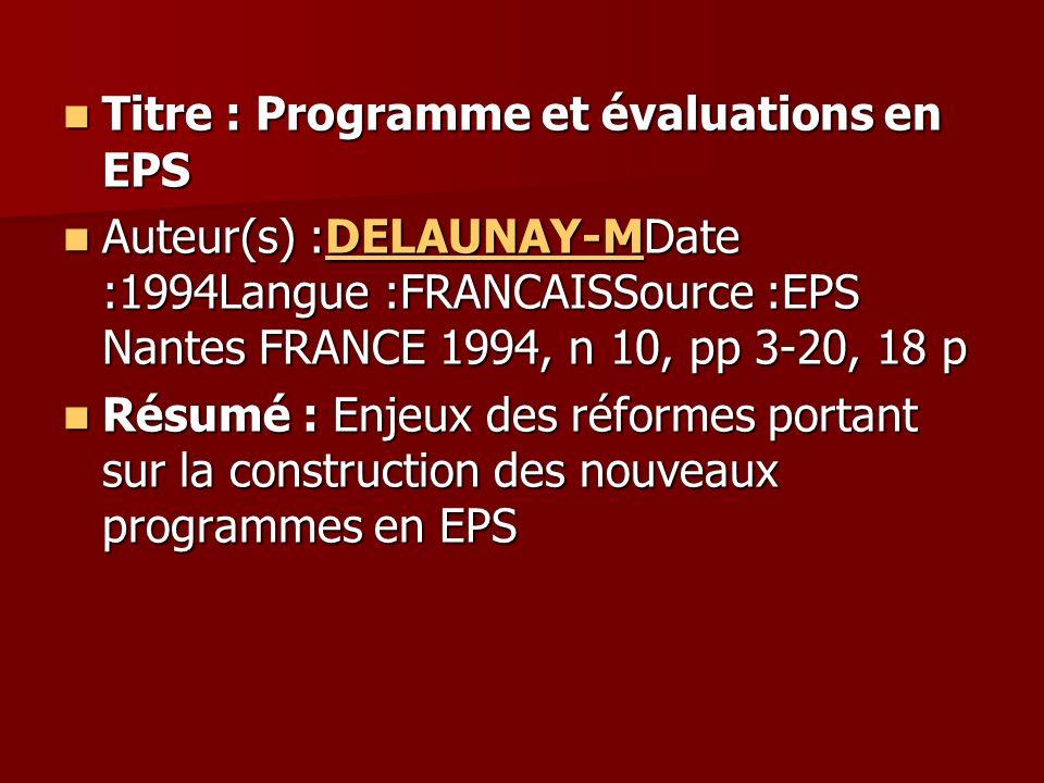 Titre : Programme et évaluations en EPS