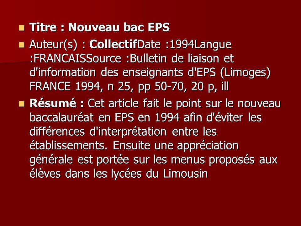 Titre : Nouveau bac EPS