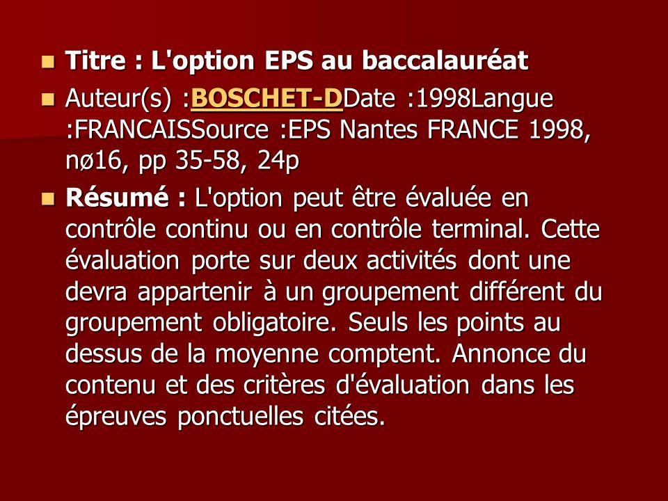 Titre : L option EPS au baccalauréat