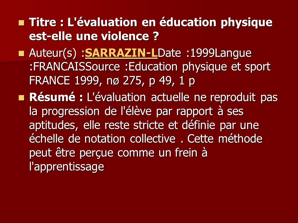 Titre : L évaluation en éducation physique est-elle une violence