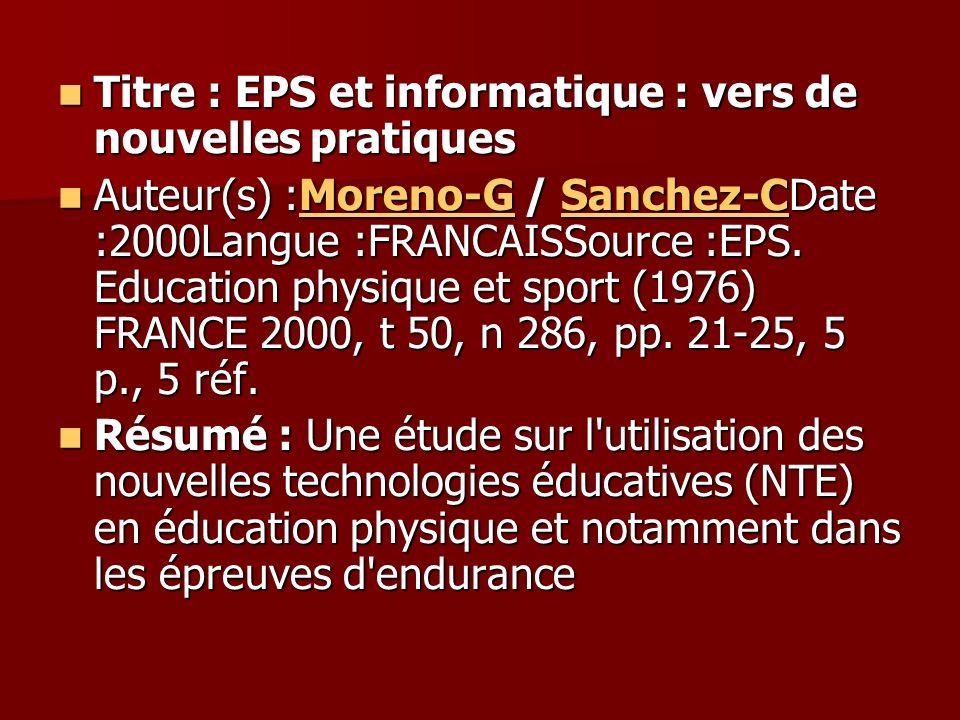Titre : EPS et informatique : vers de nouvelles pratiques