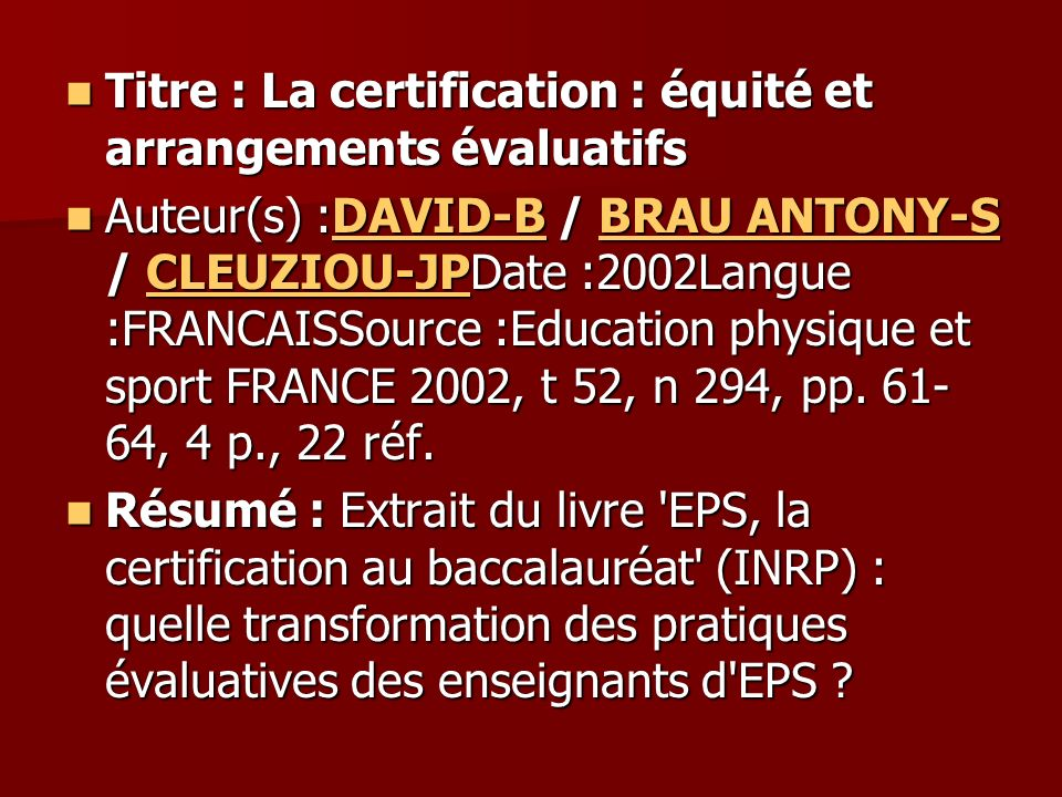 Titre : La certification : équité et arrangements évaluatifs