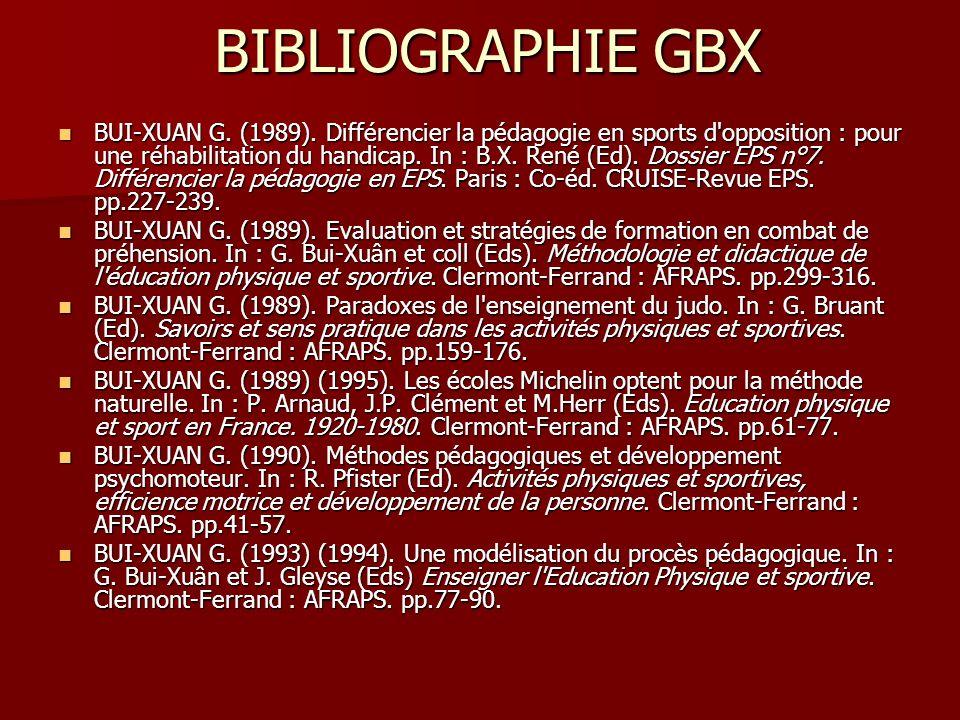 BIBLIOGRAPHIE GBX