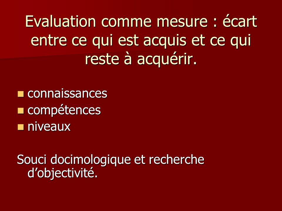 Evaluation comme mesure : écart entre ce qui est acquis et ce qui reste à acquérir.