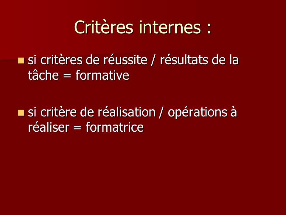 Critères internes : si critères de réussite / résultats de la tâche = formative.