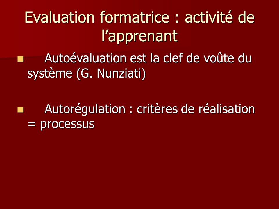 Evaluation formatrice : activité de l'apprenant