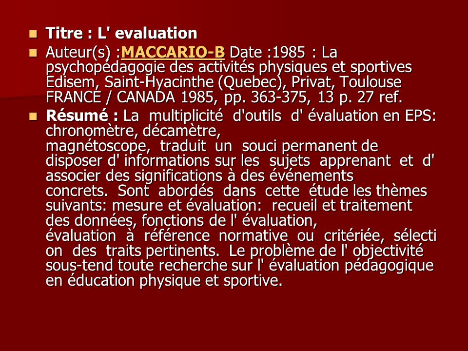 Titre : L evaluation