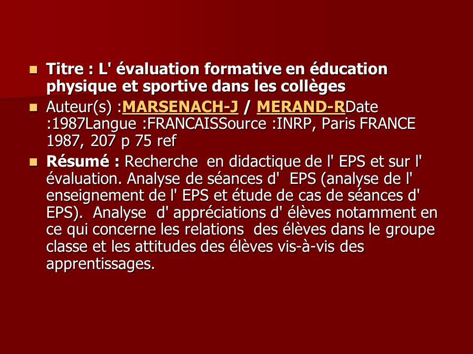 Titre : L évaluation formative en éducation physique et sportive dans les collèges